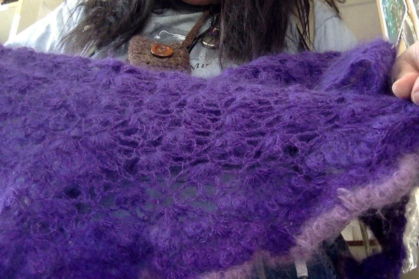 purple mohair shawl 2
