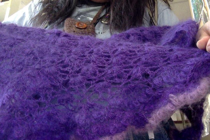 purple mohair shawl 2