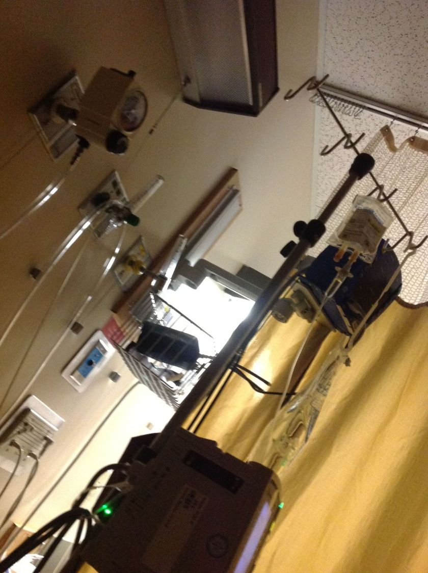 The IV pole in my hospital room during the stay described in this post. I spent days just staring at it making absolutely no sense of what I was seeing, but I must have snapped a picture of it at some point.