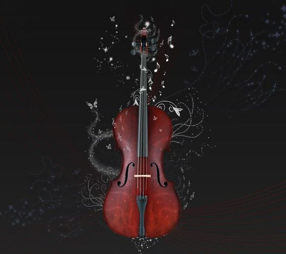 A cello with notes and othershapes spiraling out of it.