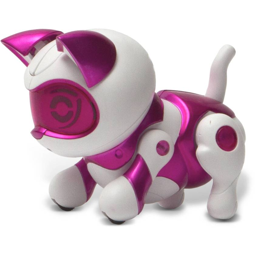 A pink and white plastic robot kitten.