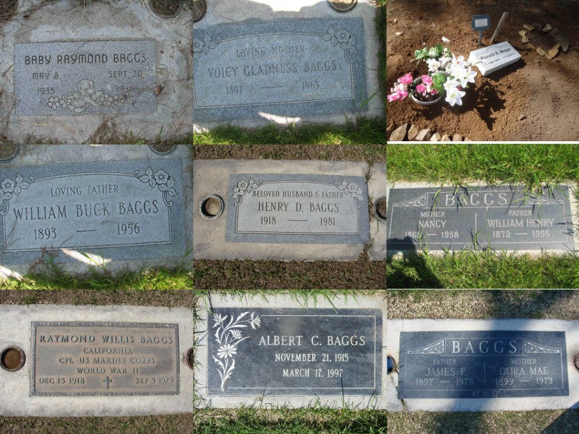 A collection of Baggs gravestones from mostly San Joaquin Valley, California cemeteries.
