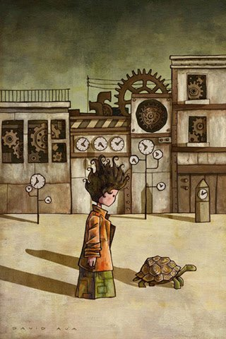 Momo walking in front of a bunch of clocks with a tortoise.